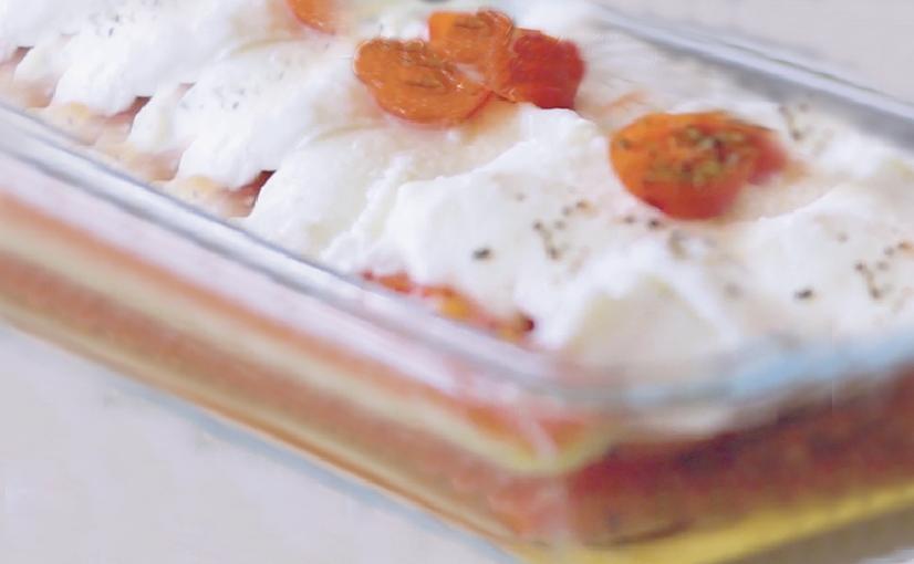 Lasagna fría de pavo